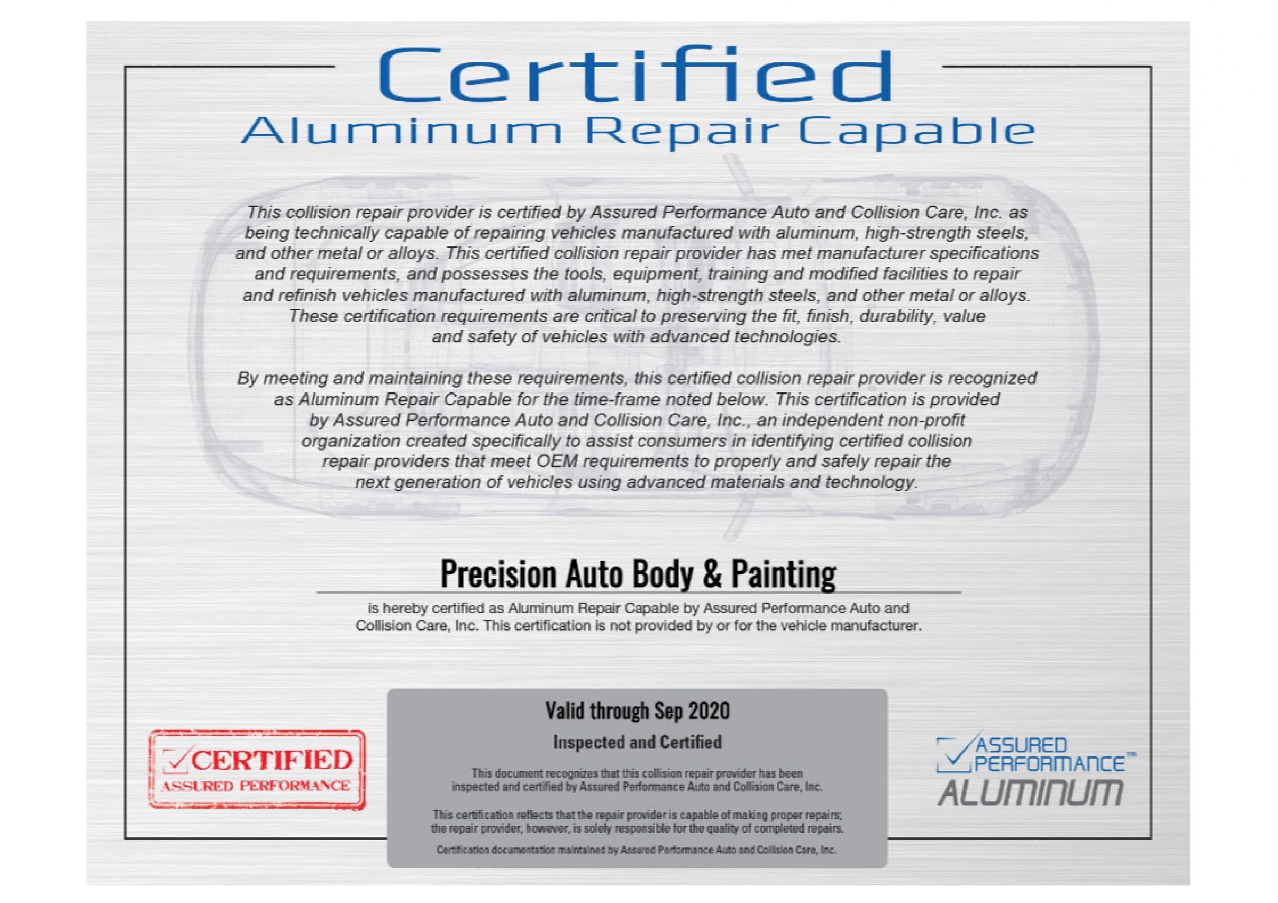 Certified by Assured Performance, Tesla, Mercedes-Benz USA, FCA, Nissan, Infiniti, Hyundai, Kia, Ford